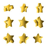 Set of 3d looking stars Royalty Free Stock Photos