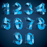 Set of 3d  low poly blue numbers with white connected line. S and dots, geometric wireframe luminescent font with fragments. Perspective shattered numeration Stock Images