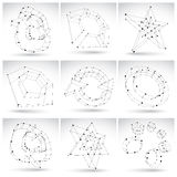 Set of 3d mesh monochrome abstract objects  on white bac. Kground, collection of sketch geometric icons, single color dimensional tech symbols with black lines Royalty Free Stock Photos
