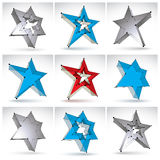 Set of 3d mesh stars  on white background Stock Photos