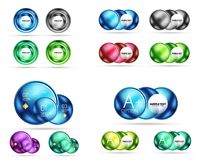 Set of 3d metal round circles and spheres. Techno icon concepts. Vector realistic illustration Stock Images