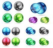 Set of 3d metal round circles and spheres. Techno icon concepts. Vector realistic illustration Royalty Free Stock Photography