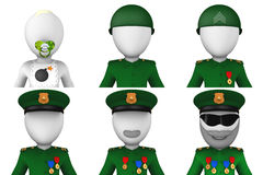 Set of 3d military avatars. Isolated on white background Royalty Free Stock Images