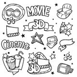 Set of 3d movie design elements and cinema objects in cartoon style.  Stock Image