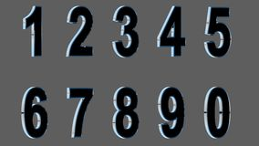 Set of 3D numbers. Black font with metallic sides in gray background. , easy to use. FACING RIGHT VERSION. Set of 3D numbers. Black font with metallic sides, in Royalty Free Stock Photography