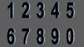 Set of 3D numbers. Black font with metallic sides, in gray background. Isolated, easy to use. FACING LEFT VERSION. Stock Images