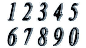 Set of 3D numbers. Black font with metallic sides, in white background. Isolated, easy to use. Set of 3D numbers. Black font with metallic sides, in white Royalty Free Stock Photo