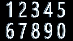 Set of 3D numbers. Metallic light color with black background. Isolated, easy to use. Stock Photography