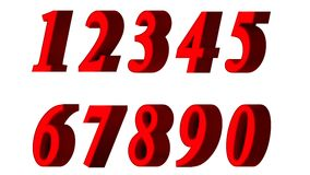 Set of 3D numbers. Red font in white background. Isolated, easy to use. Stock Image