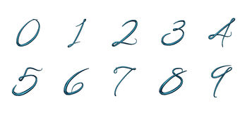 Set of 3d numbers from 0 to 9 Stock Photos