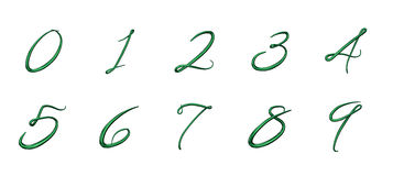 Set of 3d numbers from 0 to 9 Stock Image