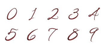 Set of 3d numbers from 0 to 9 Royalty Free Stock Image