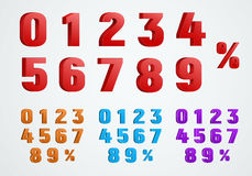 Set of 3D numbers from 0 to 9 and a percentage sign. Stock Photos