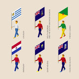 Set of 3d people with flags of South America countries Royalty Free Stock Image