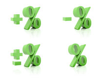 Set of 3D Percent. Plus, minus. Green on white background. Stock Photography
