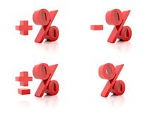 Set of 3D Percent. Plus, minus. Red on white background. Royalty Free Stock Photography