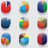 Set of 3D pie charts. business items without numbers Royalty Free Stock Image