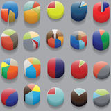 Set of 3D pie charts. business items without numbers. 3D infographics, circular elements without numbers. Vector Royalty Free Stock Photos
