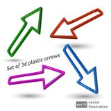 Set of 3d plastic arrows Stock Photography