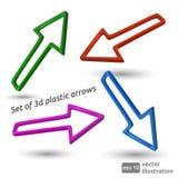Set of 3d plastic arrows. Vector illustration stock illustration