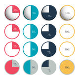 Set of 3d, plastic and flat circle, round charts. Graphs Stock Image