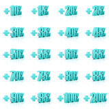 Set of 3D plus percent. Numbers. Over white background. Royalty Free Stock Image