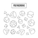 Set of 3d polyhedrons, modern hipster line art icons, crystals Stock Images