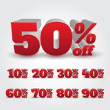 Set of 3D Promotional Discount - Vector Illustration stock image