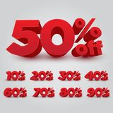 Set of 3D Promotional Discount - Vector Illustration royalty free stock image
