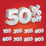 Set of 3D Promotional Discount - Vector Illustration royalty free stock photo