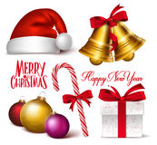 Set of 3D Realistic Christmas Objects, Symbols and Decorations Royalty Free Stock Images