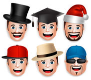 Set of 3D Realistic Face Head of Man Collections of Hats. In White Background. Vector Illustration Royalty Free Stock Images
