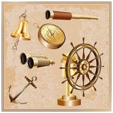 3d_navigation_set. Set of 3d realistic retro elements of navigation isolated on a light brown vintage background Royalty Free Stock Photo
