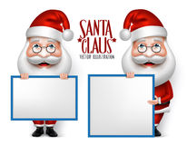 Set of 3D Realistic Santa Claus Cartoon Character for Christmas Stock Image