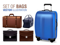 Set of 3D Realistic Traveling Bags and Briefcase for Design Elements Royalty Free Stock Photo