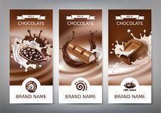 Set 3D realistyczne ilustracje, sztandary z pluśnięciami rozciekła czekolada i mleko, ilustracja wektor