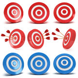 Set of 3d red and blue aim targets. Set of red and blue aim targets with and without three arrows. Goal, luck, strategy, game, business concept Royalty Free Stock Photography