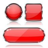 Set of 3d red glass buttons with metal frame. Vector illustration isolated on white background Stock Photo