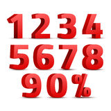Set of 3D red numbers sign. 3D number symbol with percent discount design Stock Photos