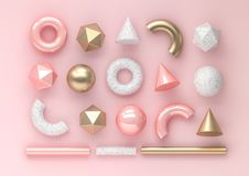 Set of 3d render realistic primitives on pink background. Isolated graphic elements. Spheres, torus, tubes, cones and other geometric shapes in golden metallic vector illustration