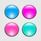 Set of 3d round web buttons. Vector illustration.  Stock Photography