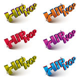 Set of 3d shattered vector hip hop words created with refraction Stock Photos
