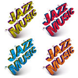 Set of 3d shattered vector jazz music words created with refract. Ions. Dimensional inscription with specks isolated on white background Royalty Free Stock Photos