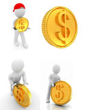 Set of 3d small man with gold dollar coin Royalty Free Stock Photos