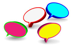 Set of 3D speech bubbles. Set of colorful elliptic 3D speech bubbles stock illustration