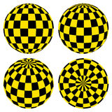 Set 3D spheres with a pattern of yellow and black squares  taxi Royalty Free Stock Photo