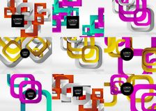 Set of 3d square abstract backgrounds Royalty Free Stock Images