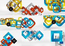 Set of 3d square abstract backgrounds. Vector abstract background Royalty Free Stock Image