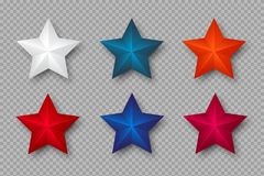 Set of 3d stars in colors of USA. stock image