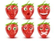 Set of 3d strawberry emoticons. Smileys emoticons.Vector image. Set of 3d strawberry emoticons. Smileys emoticons. Isolated vector image Stock Photo